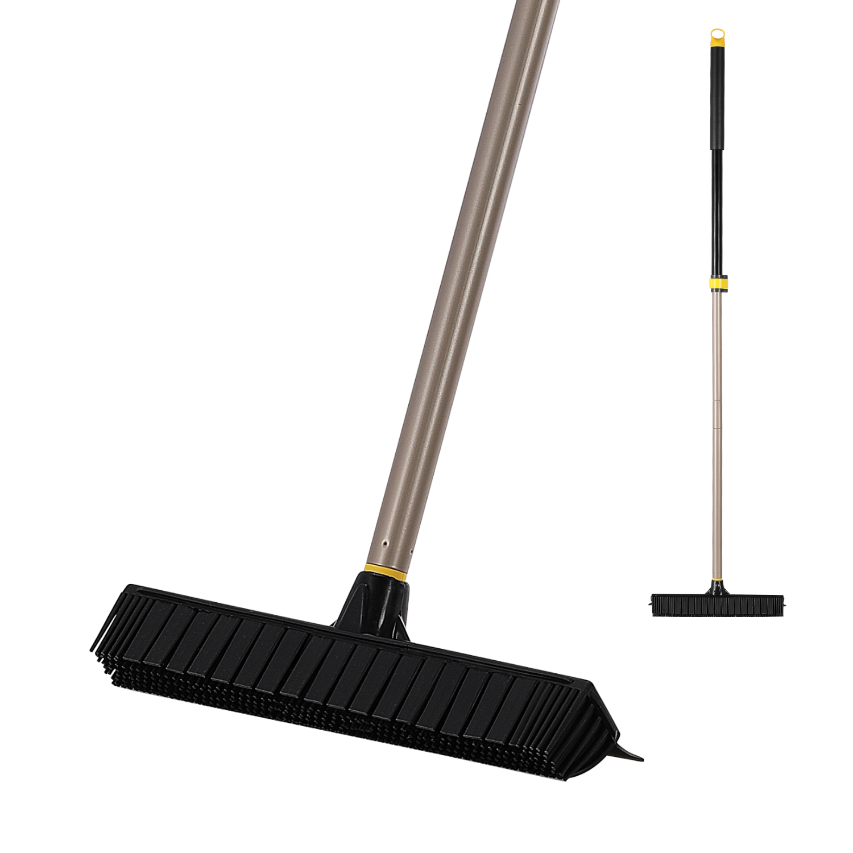 Eyliden Telescopic Broom Rubber Bristles Carpet Brush Floor Carpet Sweeper Edge with 53 inch Adjustable Long Handle for Tile