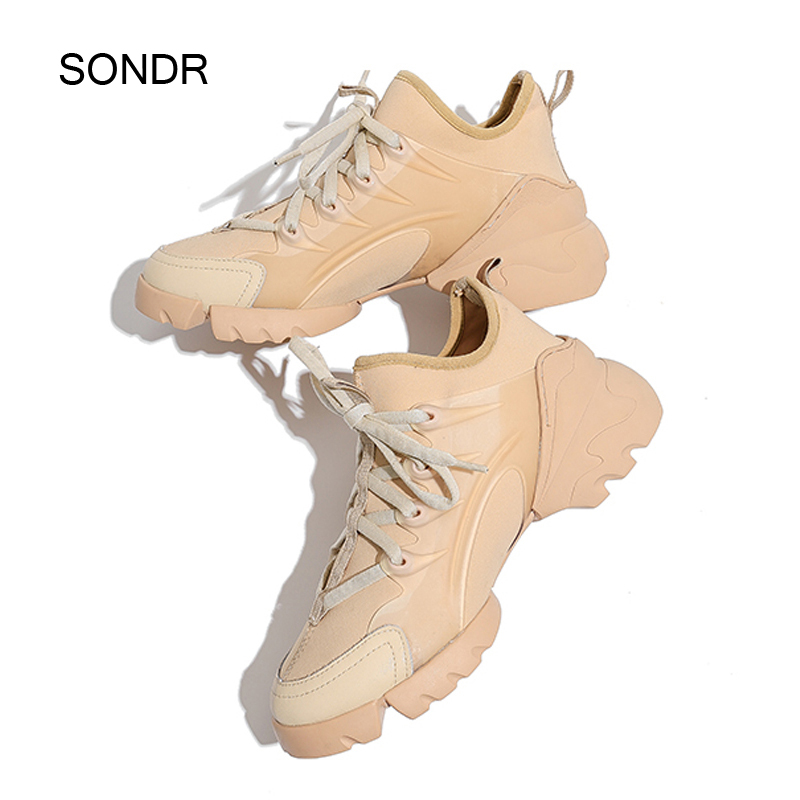 2019 Autumn New Black Shoes Women Platform Sneakers Brand Female Trainers Thick Bottom Zapatos De Mujer Ladies Chunky Footware
