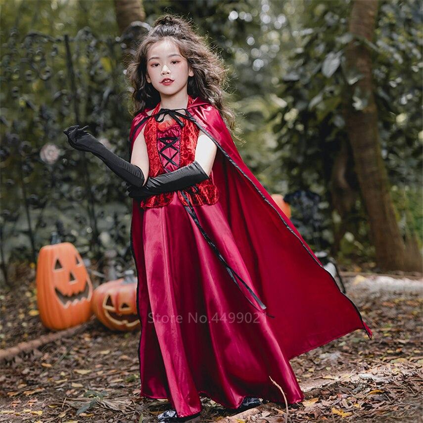 Костюм вампира на Хэллоуин для маленьких девочек; карнавальный костюм ведьмы в готическом стиле; Рождественский плащ с капюшоном; нарядное платье для женщин; карнавальные вечерние платья