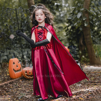 Vampire Halloween Costume for Kids Baby Girl Witch Scary Gothic Cosplay Christmas Hodded Cloak Fancy Dress Women Carnival Party