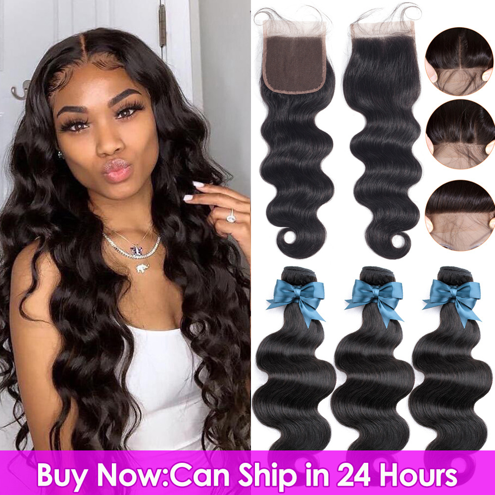 Body-Wave Closure Human-Hair-Bundles Lace Brazilian-Hair BEAUDIVA Remy