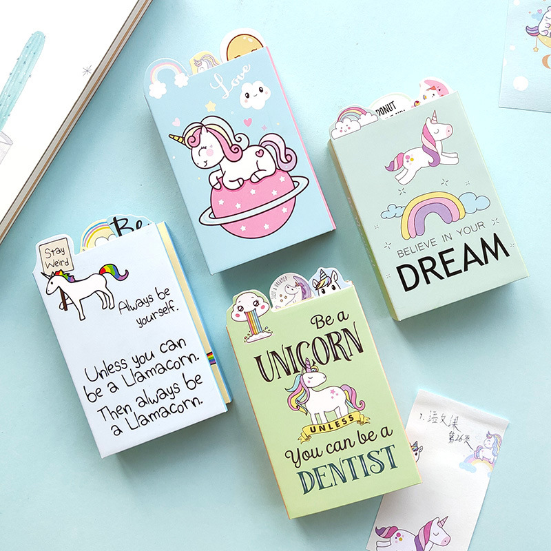 Cute Cartoon Unicorn Dentist Dream 6 Folding Memo Pad N Times Sticky Notes Memo Notepad Bookmark Gift Stationery