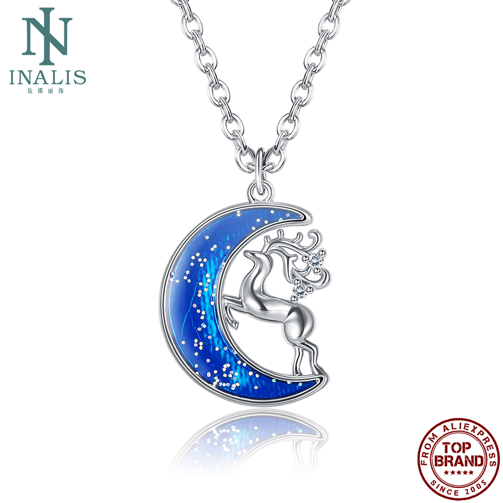 INALIS Blue Moon Fawn Sparkling Pendant Necklaces Charm Fash Women Necklace Festival blessing Fashion Jewelry For Best Friend