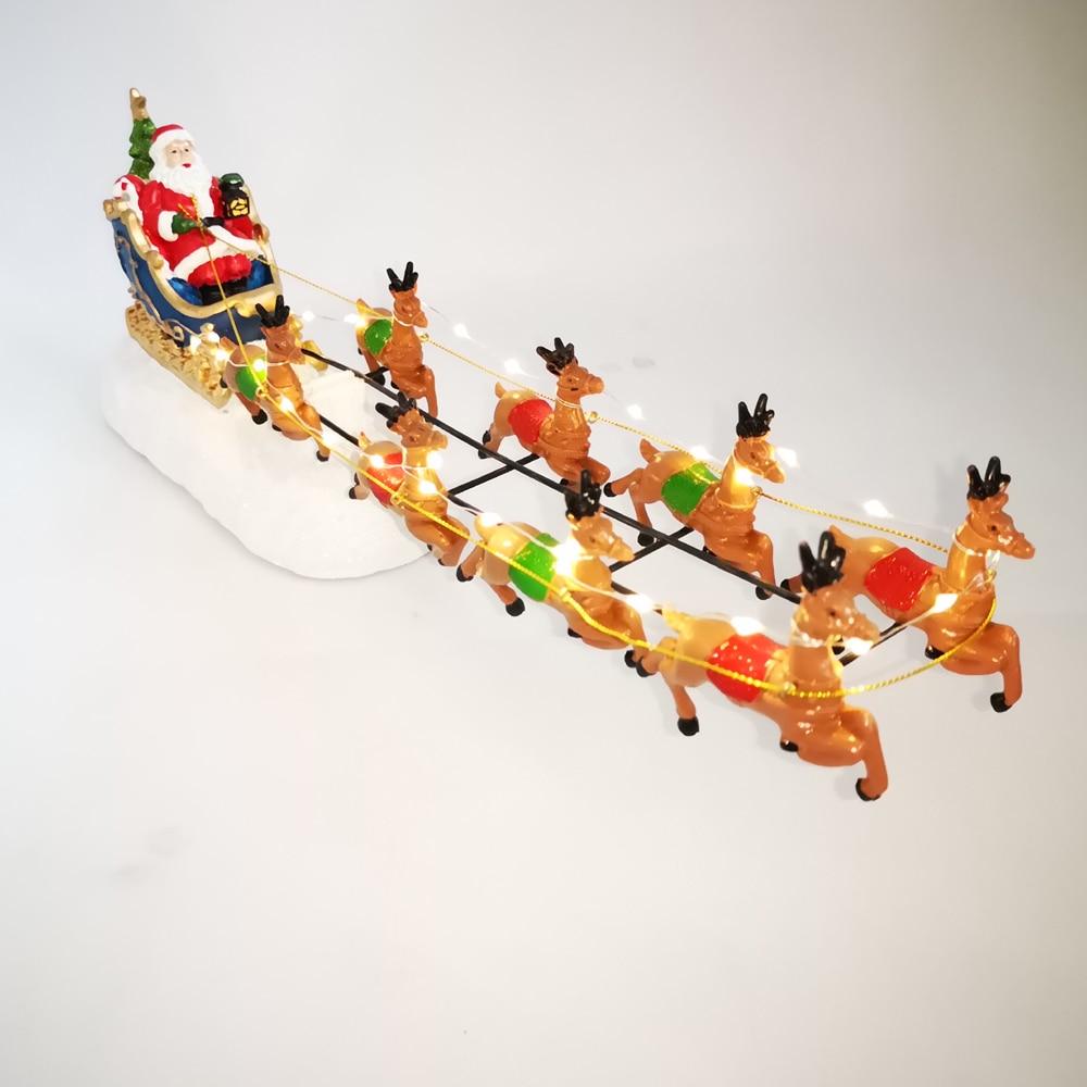 Image 5 - Winter Wonder Lane Christmas Village Set Santa Sleight with Reindeer Light Up Tabletop Decor