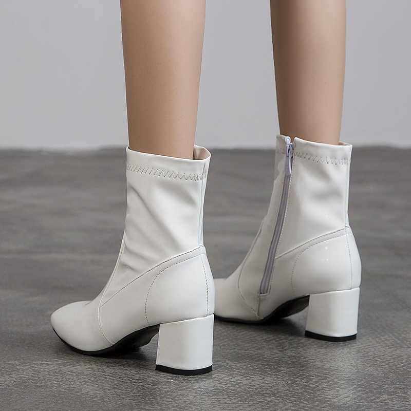 Classic Black White Ankle Boots for