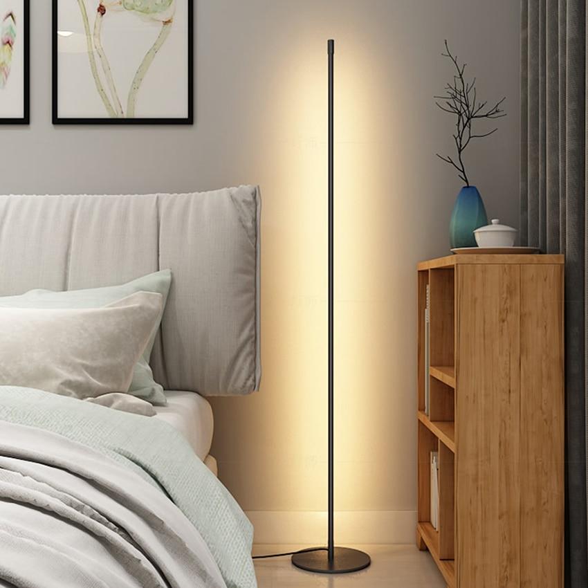 Nordic LED Floor Lamp Vertical Strip Round Stick Floor Light Bedroom Art Decor Living Room Atmospheric Floor Lamp Light Fixture