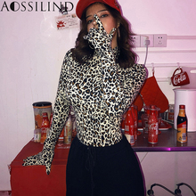 AOSSILIND Sexy Leopard Turtleneck Skinny Bodysuits With Gloves Women Autumn Long Sleeve Rompers Night Club Stretchy Bodysuit