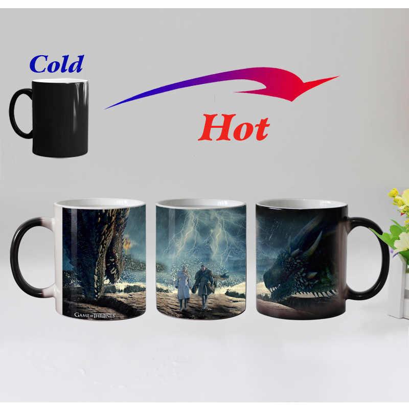 Jon sone i smok matka ceramiczna magia zmiana koloru kubki na herbatę wrażliwy na ciepło kawa kufel kubek zima nadeszła