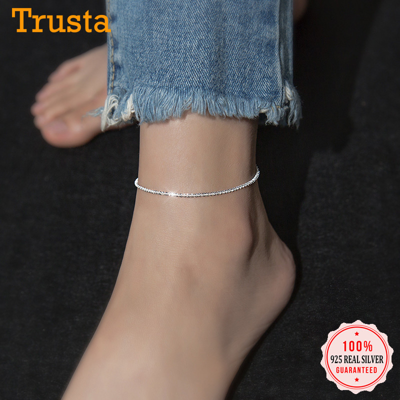 Trustdavis Minimalist 100% 925 Sterling Silver Fashion Babysbreath Chain Anklets For Women Wedding Silver 925 Jewelry Gift DA985