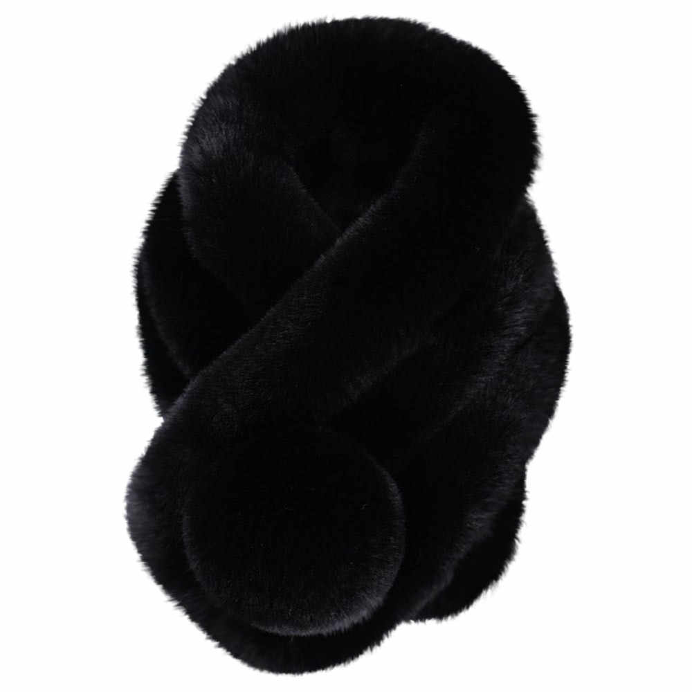 Bar alla moda Delle Donne di Inverno Imitazione della Pelliccia Del Faux Caldo Anello Sciarpa di Modo Ispessisce Pelliccia Finta Pelliccia Erba Sciarpe Tippet Multi- scopo