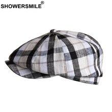 Кепка в клетку showersmile Мужская кепка газетчика льняная летняя