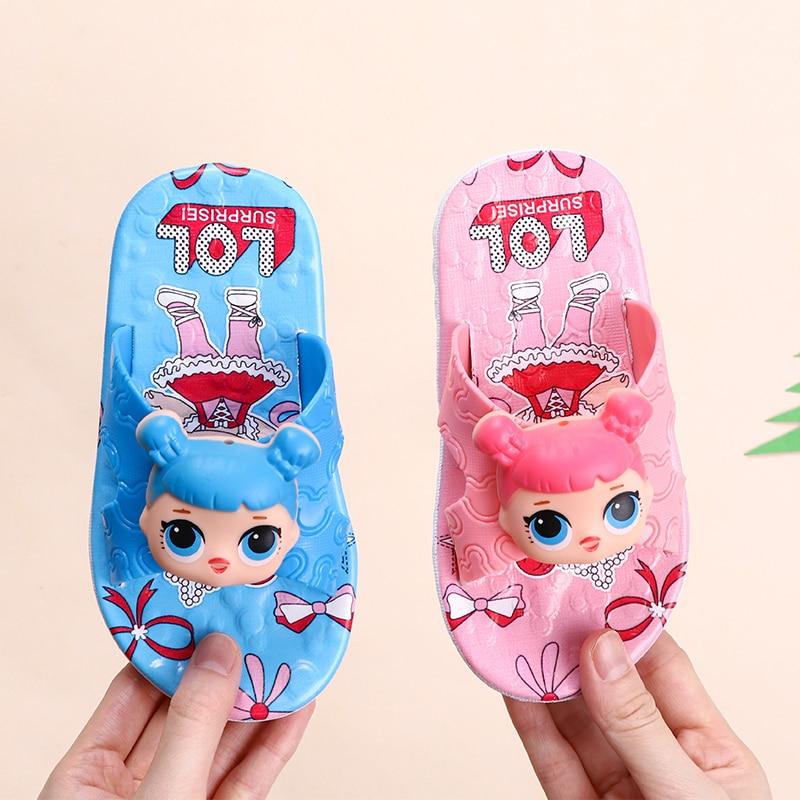 L.O.L SURPRISE! Children Slippers Boy Girl Home Shoes Toddler Infant Kid Flat Shoes Baby Cartoon Non-slip Bath Beach Sandals