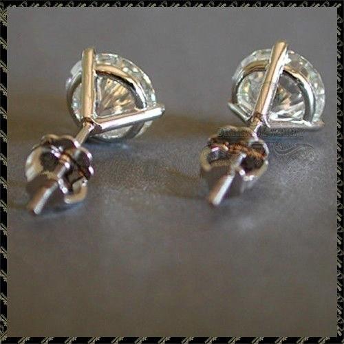 Luxury  6/7or 8mm Round Lab Diamond sterling Earrings 4