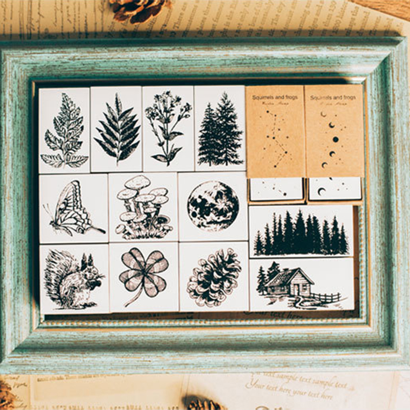 Stamp Stationery Craft Scrapbooking Plants-Leaves Wooden Moon Vintage for DIY XINAHER