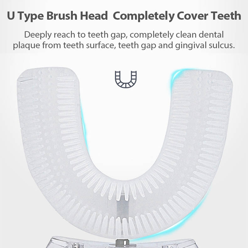 360℃ ligent Automatic Electric Toothbrush USB Charging Tooth Whitening U-Shape Toothbrush