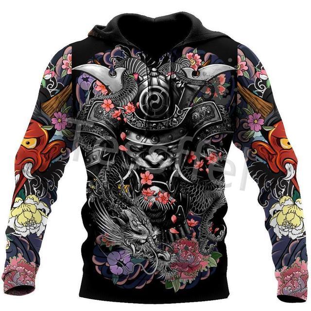 Tessffel Japan Samurai Tattoo 3D Printed New Men's Sweatshirt Harajuku Zipper Hoodie Casual Unisex Jacket Pullover Style-9 1