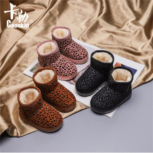 2019 Winter Plush Baby Girls Snow Boots Warm Shoes Pu Leather Flat With Baby Toddler Shoes Outdoor Snow Boots Girls Kids Shoes winter 2018 girls sheepskin wiz fur leopard print snow boots baby toddler little kid outdoor warm fashion children brand shoes