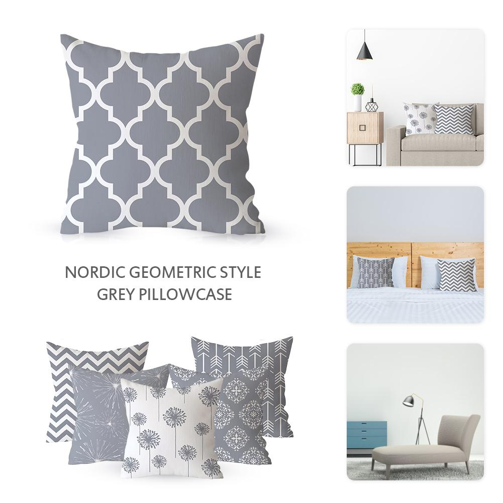18x18 Inch Gray Striped Pillowcase Geometric Throw Cushion Pillow Cover Printing Cushion Pillow Case Bedroom Office New Dropship