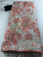Nouveau africain français maille dentelle tissu nigérian Net Organza dentelle tissu broderie dentelle pour robe de soirée COP-006