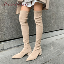 Stretch Boots Shoes Thick Heels Pointed-Toe Over-The-Knee Meotina Autumn Winter Lady
