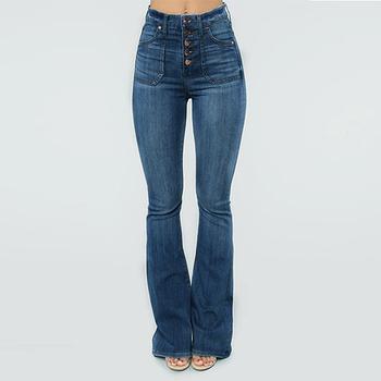 Wysokiej talii dżinsy dla kobiet panie sprane dżinsy spodnie Streetwear Vintage Denim spodnie z guzikami dżinsy dla mamy Slim jeansy rozkloszowane tanie i dobre opinie LASPERAL Poliester Pełnej długości CN (pochodzenie) Osób w wieku 18-35 lat Women Jeans Na co dzień Zmiękczania Przycisk fly