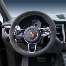 DIY niestandardowe ręcznie szyte zamszowa kierownica pokrywa dla Porsche nowy Cayenne macan 911 Boxster GTS wygodny pokrowiec na koło samochodowe tanie tanio CN (pochodzenie) Faux leather 0 5kg Iso9001 38cm