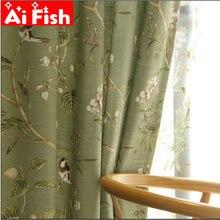 Американский кантри сад хлопок лен зеленые оконные шторы для
