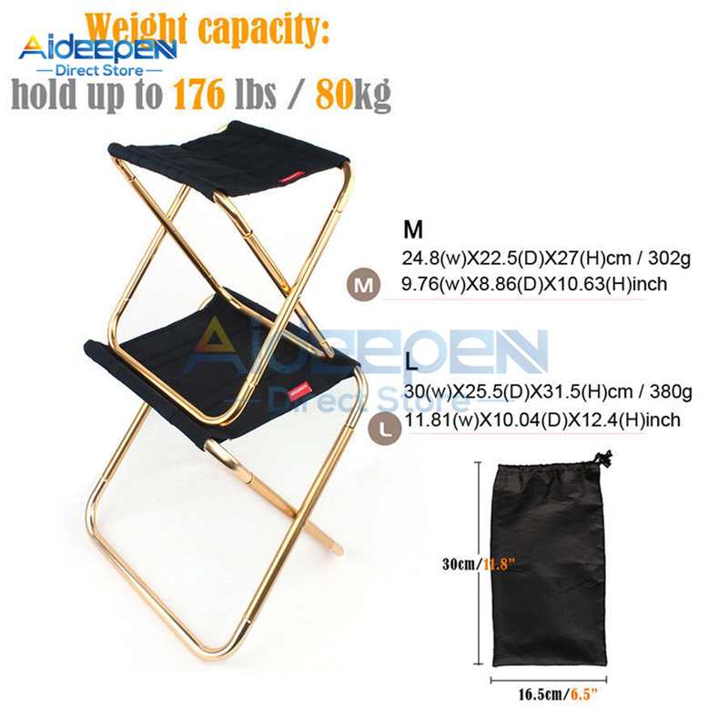 Aluminum Outdoor Folding Fishing Chair Ultra Light Weight Portable Folding Camping Picnic Stool Fishing Chair With Storage Bag|Beach Chairs| |  - title=