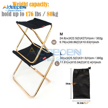 Aluminum Outdoor Folding Fishing Chair Ultra Light Weight Portable Camping Picnic Stool With Storage Bag - discount item  18% OFF Outdoor Furniture