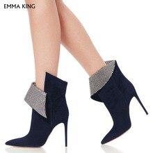 Темно-Синие ботильоны для женщин со стразами с острым носком на шпильке; модные ботинки на высоком каблуке; Botas Mujer; ; женская обувь для вечеринок