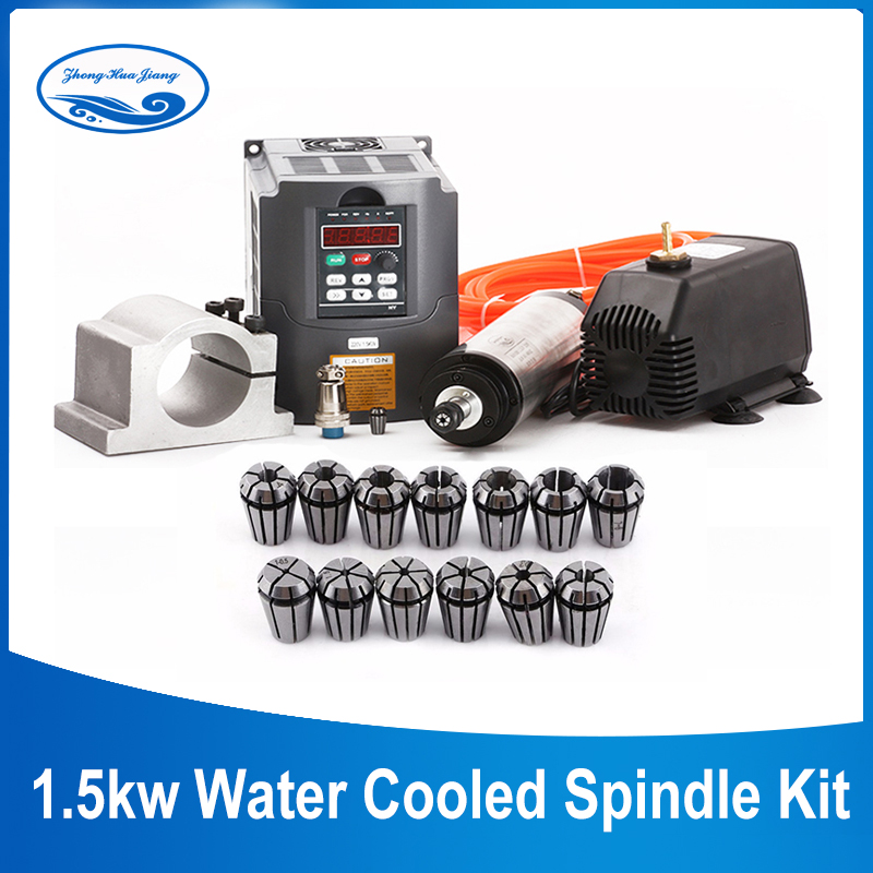 220 кВт шпиндель с водяным охлаждением кВт шпиндель с ЧПУ + инвертор в + 65 мм зажим + водяной насос + 13 шт. набор ER11 для деревообрабатывающего фре...