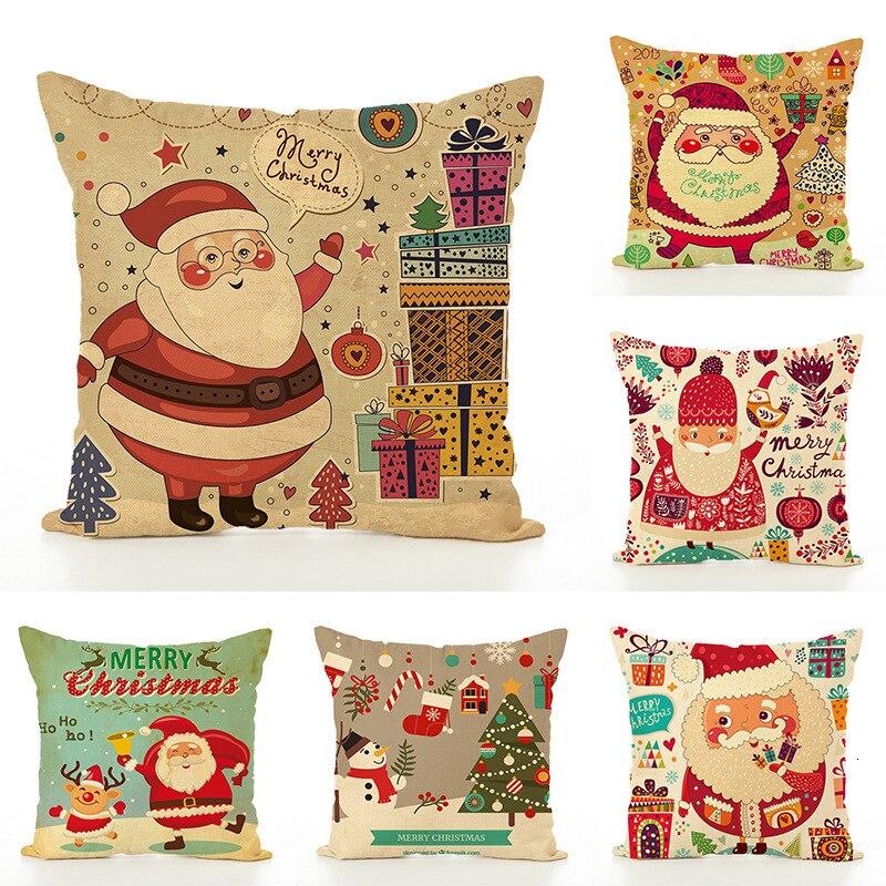 Christmas Design Pillow Case Home Sofa Cushion Cover 45x45 Linen Decorative