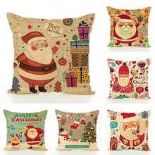 Christmas Design Pillow Case Home Sofa Cushion Cover 45x45 Christmas Linen Cushion Cover Decorative Pillow Cover все цены