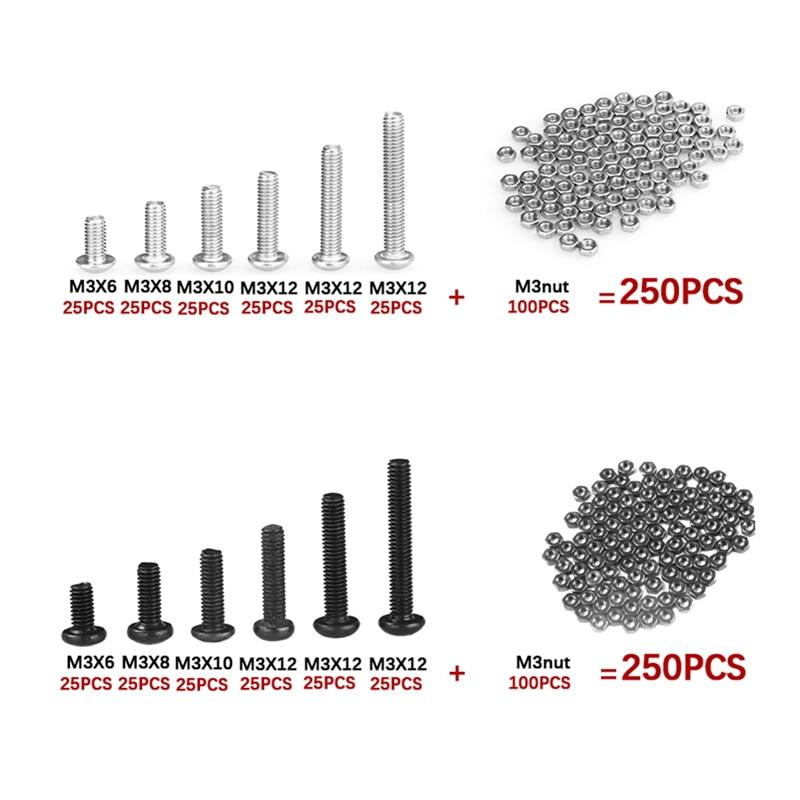 250Pcs M3 Button Head Screws Sets Hex Socket Bolt With Hex Nuts Assortment Kit