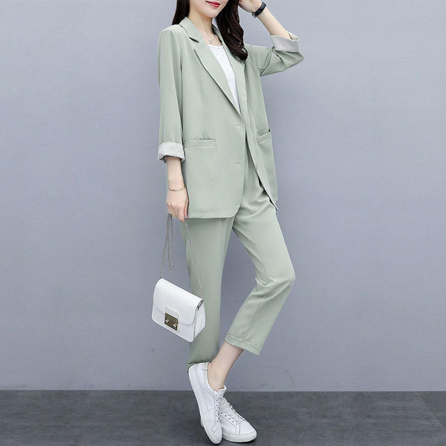 Two-piece 2021 new small suit jacket large size Korean version of loose slim casual suit suit women 6