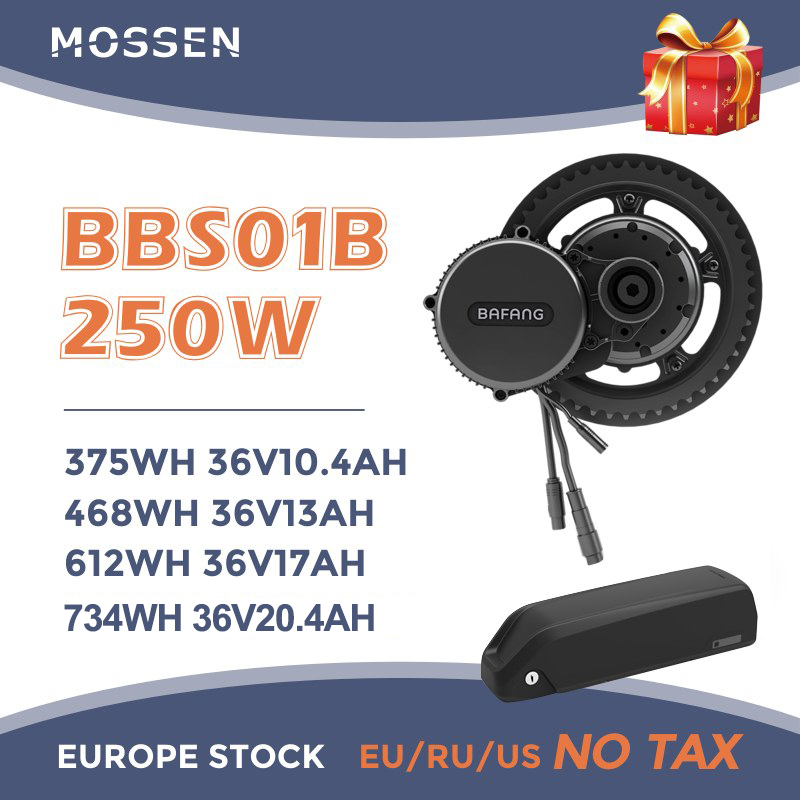 Bafang <font><b>Motor</b></font> BBS01B 250W <font><b>36V</b></font> 8FUN 250w Ebike Mid Drive <font><b>Motor</b></font> Electric Bicycle Conversion Kit with Bttaery and TFT LCD Dispaly image
