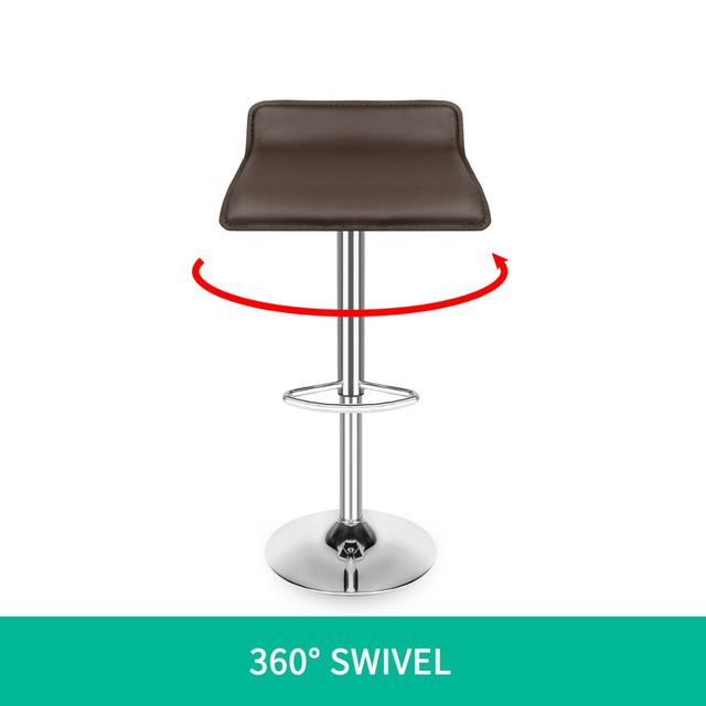 Set of 4 Modern Dining Chairs Soft PU Leather Counter Bar Stools Adjustable Chrome Swivel Stool for Kitchen Pub Salon Office 5