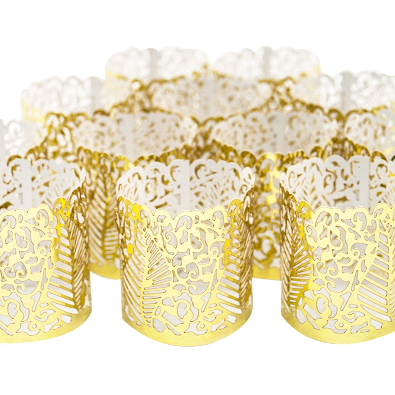 48 Pcs Flameless Tea Light Votive Wraps,Votive Candle Holders,Gold Colored Cut Flameless Tea Light Votive Wraps Decorative Wraps