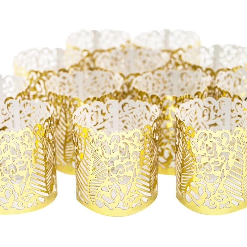48 Pcs Flameless Tea Light Votive Wraps,Votive Candle Holders,Gold Colored Cut Flameless Tea Light Votive Wraps Decorative Wraps