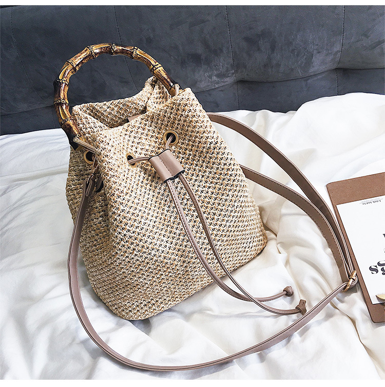 Woven Straw Bucket Bag with Leather Shoulder Strap for Summer 2021