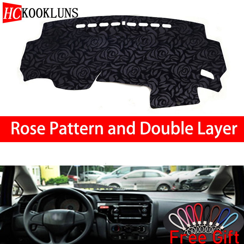Rose Pattern For Honda fit 2014 2015 2016 2018 Dashboard Cover Car Stickers Car Decoration Car Accessories Interior Car Decals