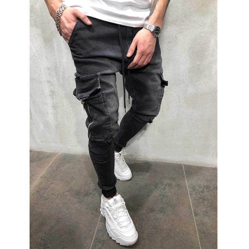 Männer Kleidung Hip Hop Jogginghose Dünne Motorrad Denim Hosen Zipper Designer Schwarze Jeans Herren Casual Männer Jeans Hosen