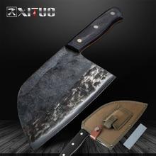 XITUO yüksek karbon kaplı çelik el yapımı bıçak dövme şef bıçağı doğrama aracı profesyonel mutfak bıçakları Nakiri Gyuto kasap