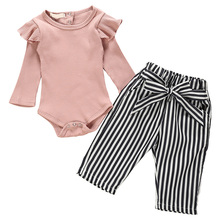 цены Girls Cotton Jumpsuit with Flying Sleeves Long Sleeves Black Striped Belt Trousers 998