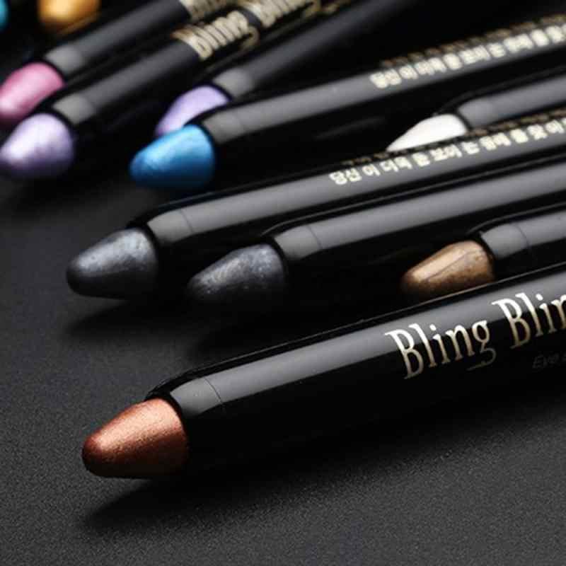 1 Pc Warna Eyeshadow Stick Mutiara Luminous Eye Shadow Pena Stabilo Berbohong Ulat Pensil Tahan Air Tahan Lama Makeup TSLM1