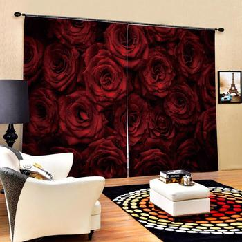 Customized size Luxury Red rose Digital Print 3D Blackout Curtains For Living room
