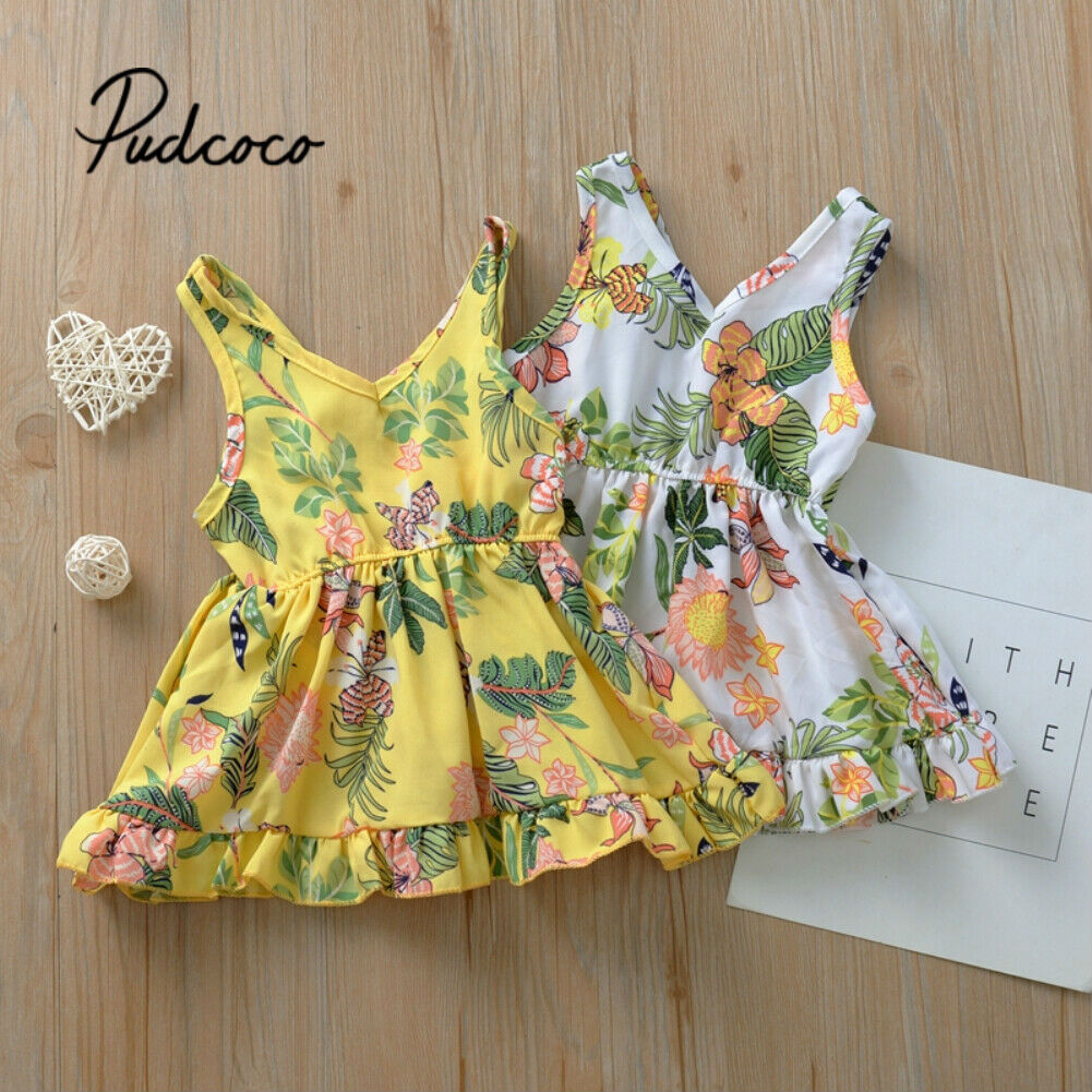 2020 Spring Summer Girl Dress Cotton Sleeveless Children Dresses Floral Print Kids Dresses For Girls Fashion Princess Clothing