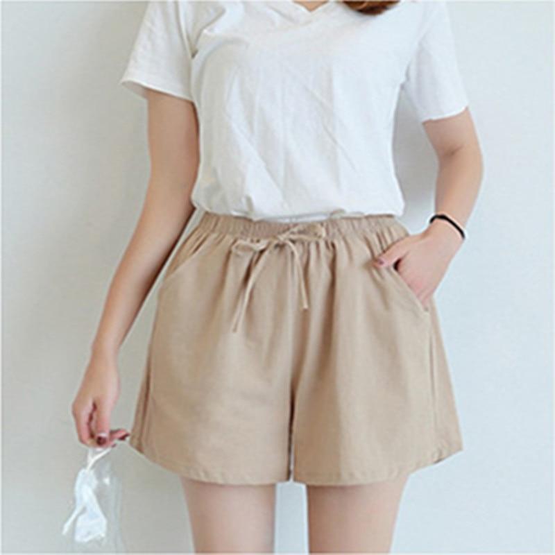 2020 New Women's Shorts Hot Summer Casual Cotton Linen Shorts Plus Size Mid Waist Short Fashion Woman Streetwear Short Pants|Shorts| - AliExpress