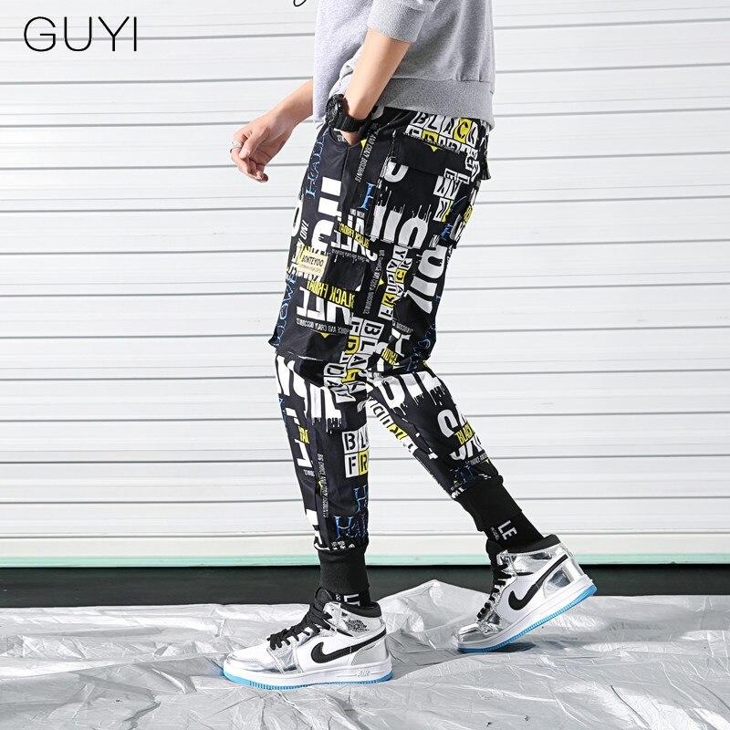 GUYI Punk Graffiti Letter Print Casual Cargo Pants Trousers Men Pockets Pants Fashion Hip Hop Parkour Male Autumn Loose Pants