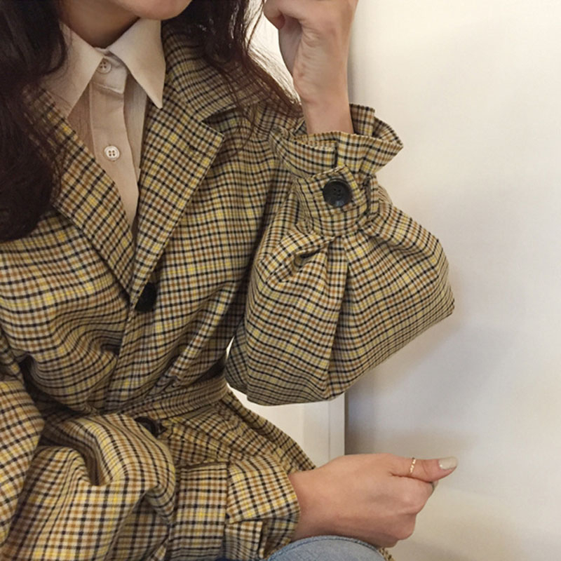 2020 Women's Coat Autumn Trend Vintage Windbreakers Plaid Trench Coat Female Long Loose Belted Outwear Casual Loose Overcoat F44